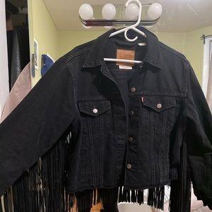 Black Levi's denim fringe jacket